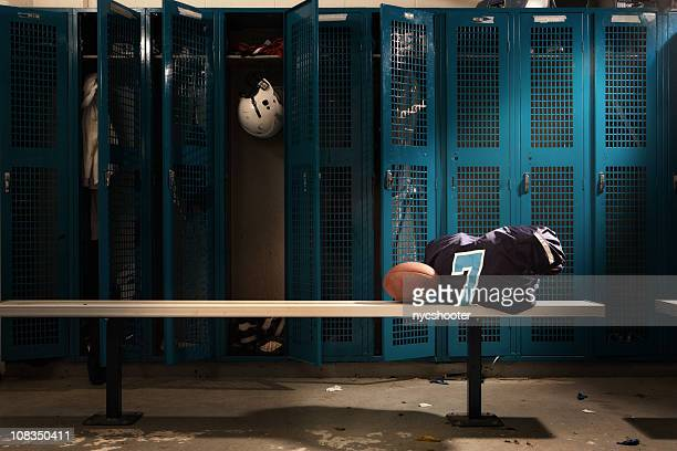 football locker room - american football sport stock pictures, royalty-free photos & images
