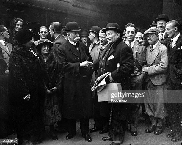 Football London England 8th December Football Association secretary Sir Frederick Wall shakes hands with Austrian FA member Herr Meisl as the Austria...