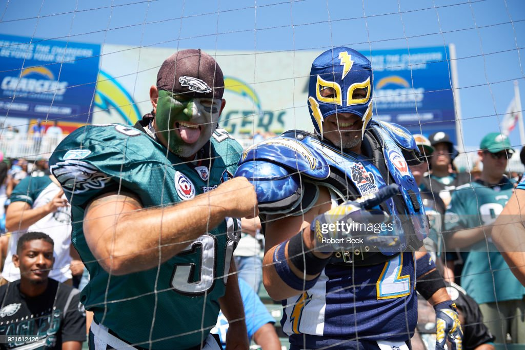 Los Angeles Chargers and Philadelphia Eagles fans in stands before game at StubHub Center. Robert Beck TK1 )