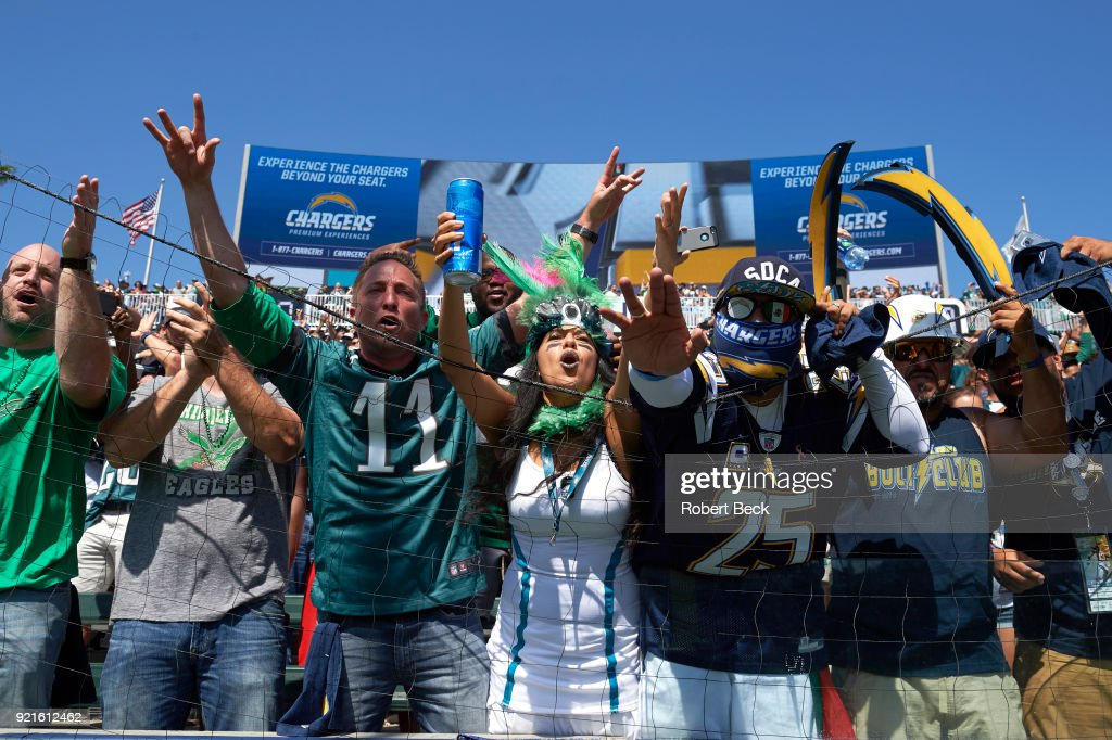 Los Angeles Chargers and Philadelphia Eagles fans in stands during game at StubHub Center. Robert Beck TK1 )