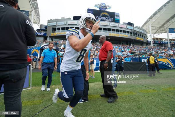 Los Angeles Chargers Drew Kaser taking field before game vs Miami Dolphins at StubHub Center Carson CA CREDIT Donald Miralle