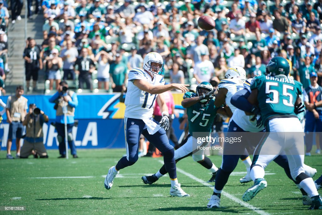 Los Angeles Chargers QB Philip Rivers (17) in action, passing vs Philadelphia Eagles at StubHub Center. Robert Beck TK1 )