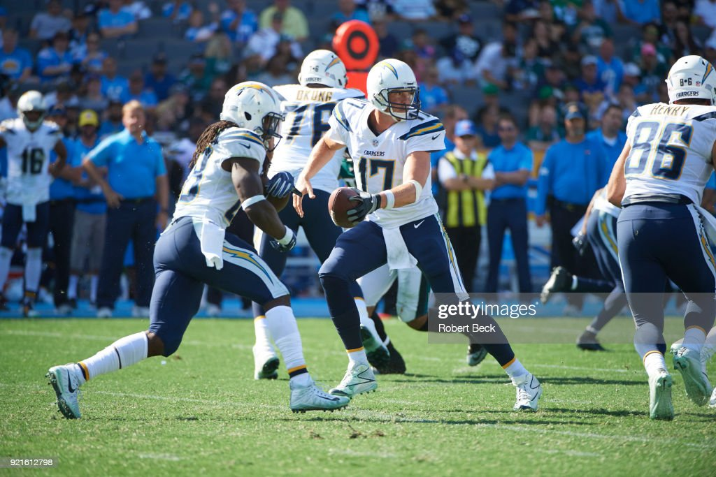 Los Angeles Chargers QB Philip Rivers (17) in action vs Philadelphia Eagles at StubHub Center. Robert Beck TK1 )
