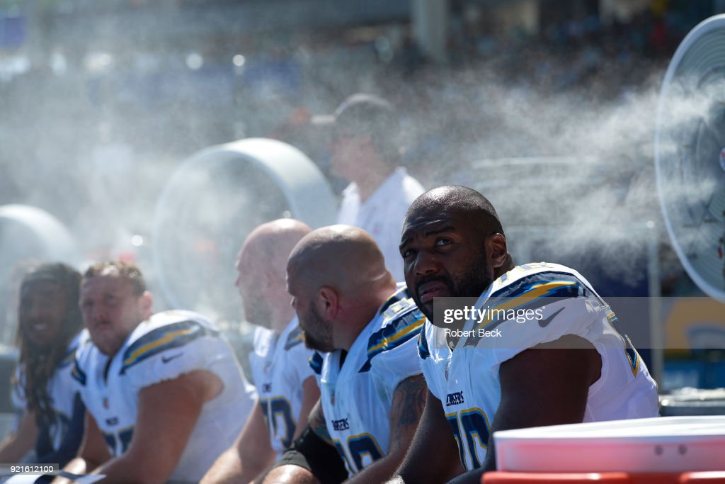 Los Angeles Chargers Russell Okung (76) on bench during game vs Philadelphia Eagles at StubHub Center. Robert Beck TK1 )