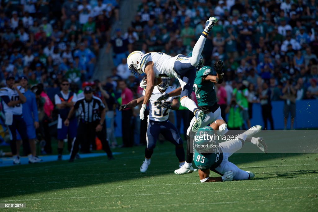 Los Angeles Chargers Tyrell Williams (16) in action vs Philadelphia Eagles Mychal Kendricks (95) at StubHub Center. Robert Beck TK1 )