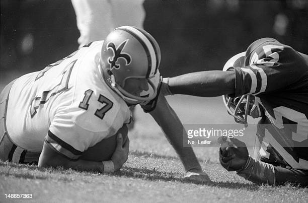 Los Angeles Rams Deacon Jones in action sack vs New Orleans Saints QB Billy Kilmer at Tulane StadiumNew Orleans LA 9/17/1967CREDIT Neil Leifer