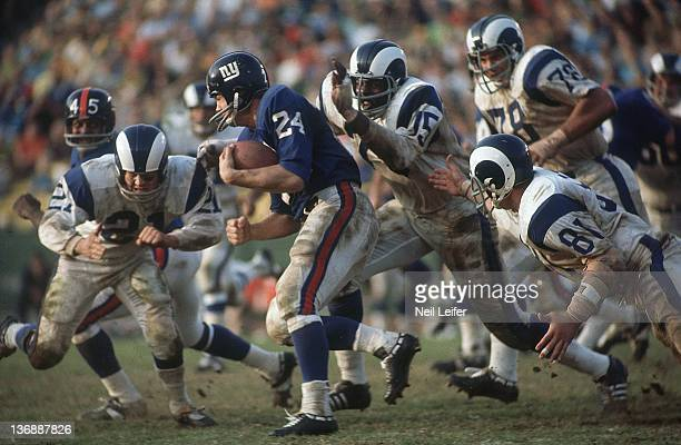 Football Los Angeles Rams Deacon Jones in action sack vs New York Giants QB Tucker Frederickson at Los Angeles Memorial Coliseum Los Angeles CA...