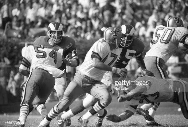 Los Angeles Rams Deacon Jones in action vs New Orleans Saints QB Billy Kilmer at Tulane StadiumNew Orleans LA 9/17/1967CREDIT Neil Leifer