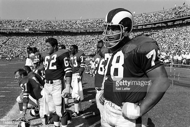 Los Angeles Rams Don Chuy , Roger Brown , and teammates on sidelines during game vs New Orleans Saints at Tulane Stadium. New Orleans, LA...