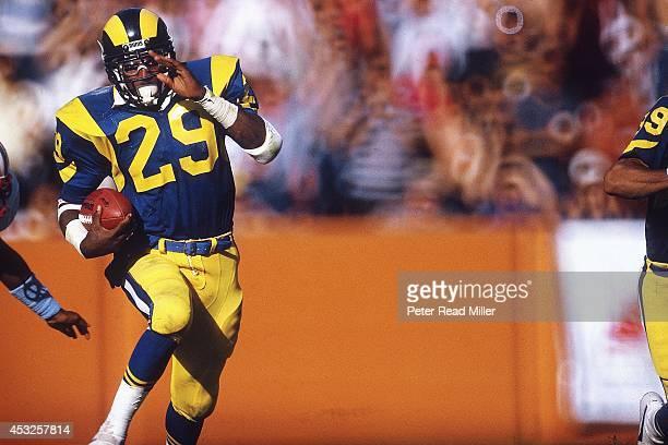 Los Angeles Rams Eric Dickerson in action rushing vs Houston Oilers at Anaheim Stadium Dickerson broke OJ Simpson's single season rushing record...