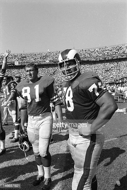 Los Angeles Rams Gregg Schumacher and Roger Brown on sidelines during game vs New Orleans Saints at Tulane Stadium.New Orleans, LA 9/17/1967CREDIT:...