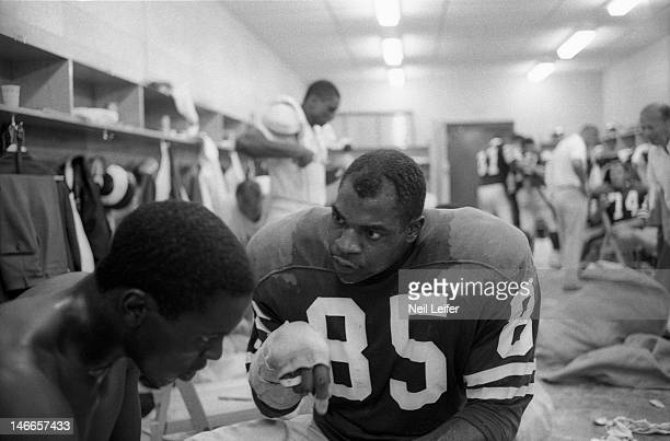 Los Angeles Rams Lamar Lundy in locker room with Deacon Jones after game vs New Orleans Saints at Tulane Stadium.New Orleans, LA 9/17/1967CREDIT:...