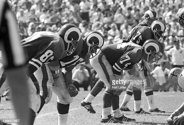 Los Angeles Rams Lamar Lundy , Roger Brown , Merlin Olsen , and Deacon Jones lined up vs New Orleans Saints at Tulane Stadium. Fearsome Foursome.New...