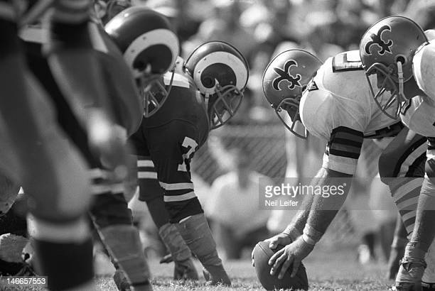 Los Angeles Rams Merlin Olsen and teammates lined up vs New Orleans Saints at Tulane Stadium Rams four defensive linemen known as the Fearsome...