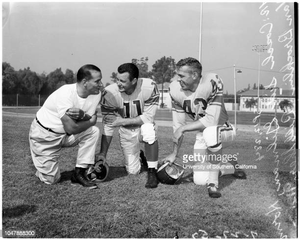 Football - Los Angeles Rams - Photo day, 27 July 1957. Ron Waller;Tom Wilson;Norm Van Brocklin;Paul Younger;Elroy Hirsch;Bob Boyd;Dick Enright;Duane...