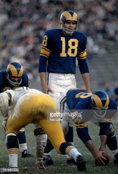 Los Angeles Rams QB Roman Gabriel at line of scrimmage during game vs Green Bay Packers at Los Angeles Memorial Coliseum Los Angeles CA CREDIT Neil...