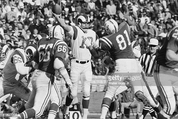 Football: Los Angeles Rams QB Roman Gabriel in action, making pass vs Baltimore Colts, Los Angeles, CA