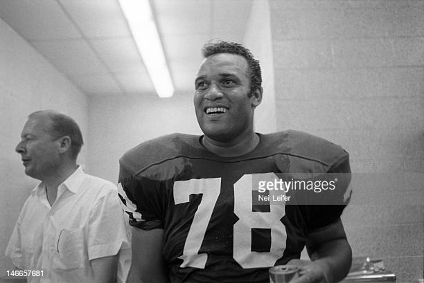 Los Angeles Rams Roger Brown victorious in locker room after game vs New Orleans Saints at Tulane Stadium.New Orleans, LA 9/17/1967CREDIT: Neil Leifer