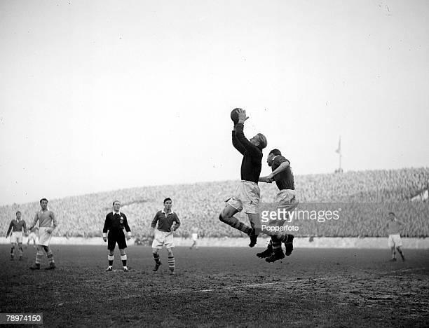 Football Maine Road Manchester Manchester City v Middlesborough Manchester City's German goalkeeper Bert Trautmann makes a catch under pressure