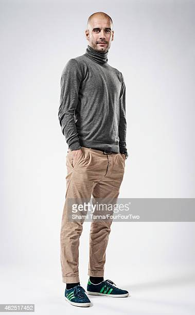 Football manager Pep Guardiola is photographed for FourFourTwo magazine on November 28 2013 in London England