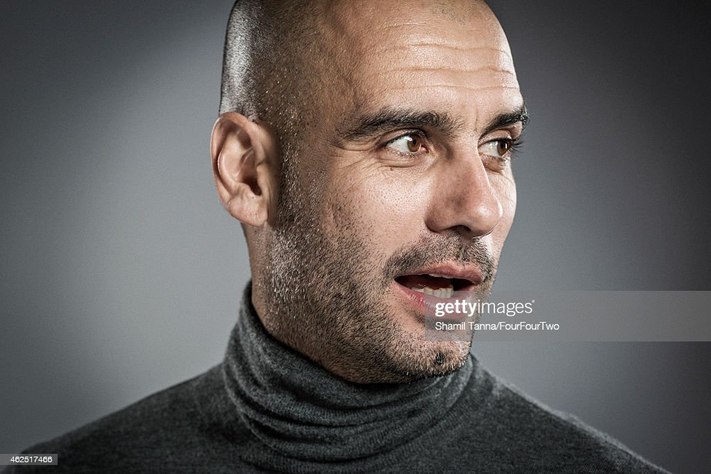 Football manager Pep Guardiola is photographed for FourFourTwo magazine on November 28, 2013 in London, England.