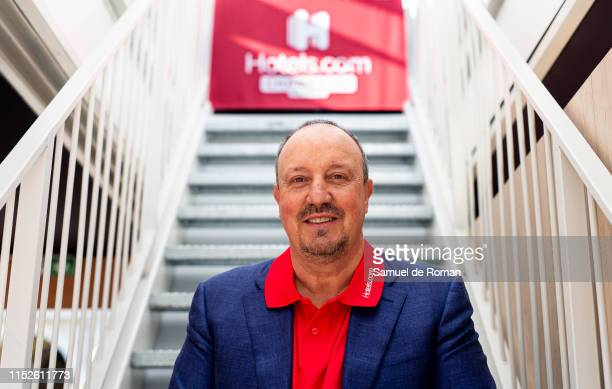 Football Manager Rafa Benitez at the Hotels.com Champions Retreat in Plaza Mayor ahead of the UEFA Champions League Final on May 30, 2019 in Madrid,...
