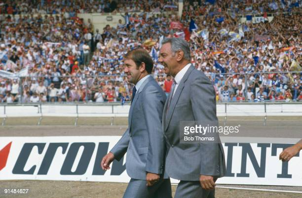 Football managers Howard Kendall of Everton with Joe Fagan of Liverpool FC, circa 1984.