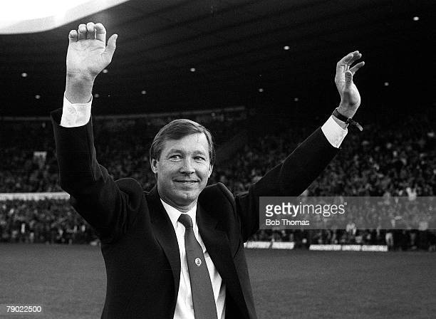 Football Manchester England 22nd November 1986 Manchester United 1 v Queens Park Rangers 0 Manchester United's new manager Alex Ferguson acknowledges...