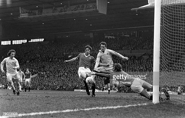 Football Manchester England League Division One 12th March 1977 Manchester United v Leeds United United goalkeeper Alex Stepney saves from Leeds' Joe...