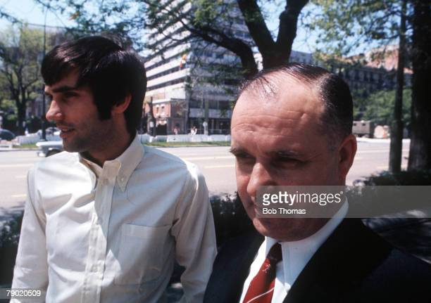 Football Manchester United's George Best in the city of Madrid in Spain with his father before the team's vital European Cup Semi Final Second Leg