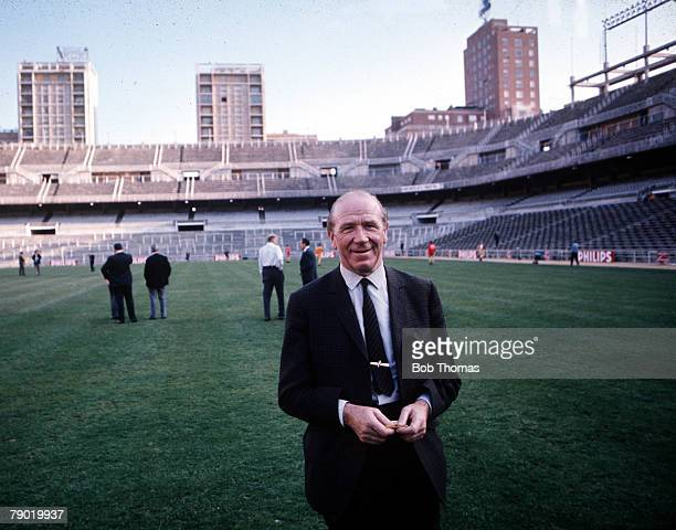 Football Manchester United's manager Sir Matt Busby pictured in the Santiago Bernabeu Stadium in Madrid before his teams European Cup semifinal scond...