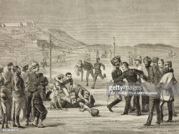 Football match 59th Regiment KelatiGhilzai Second AngloAfghan War illustration from the magazine The Graphic volume XIX no 494 May 17 1879