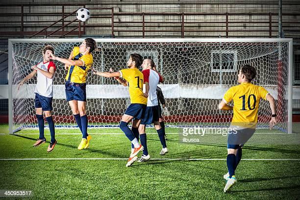 Football match in stadium: Header