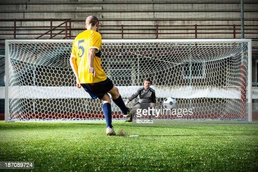 Football Match In Stadium Penalty Kick Stock Photo | Getty ...