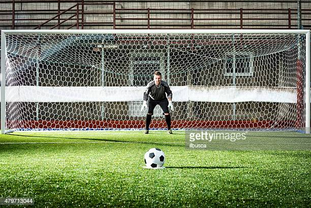 football match in stadium: penalty kick - scoring a goal stock pictures, royalty-free photos & images