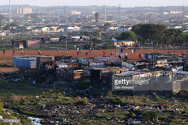 Football match is played in the New Brighton Township on June 24, 2010 in Port Elizabeth, South Africa. The New Brighton Township was established in...