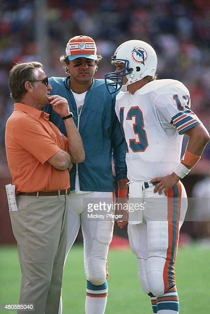 Miami Dolphins head coach Don Shula on sidelines with QB Dan Marino and QB Don Strock during game vs San Francisco 49ers at Candlestick Park San...