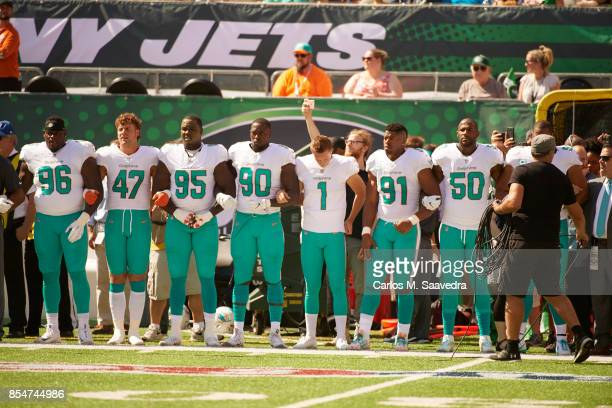 Miami Dolphins Kiko Alonso William Hayes Charles Harris Cody Parkey Cameron Wake Charles Harris Andre Branch and Ndamukong Suh link arms in...