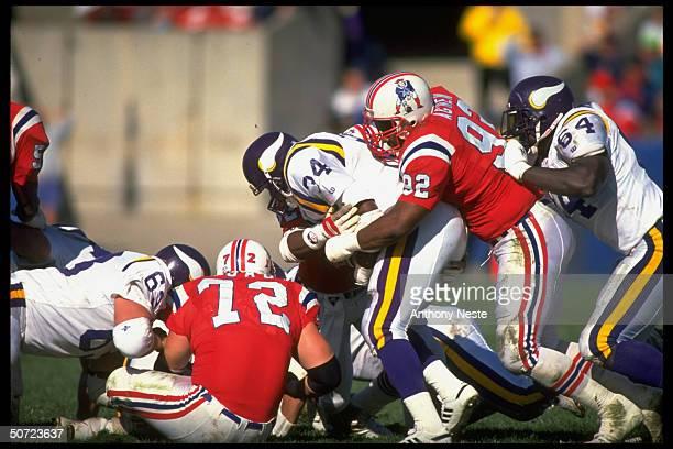 Minn. Vikings Herschel Walker in action vs New England Patriots Ray Agnew.