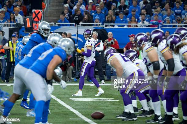 Minnesota Vikings Adam Thielen at line of scrimmage during game vs Detroit Lions at Ford Field Detroit MI CREDIT David E Klutho