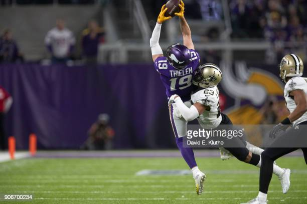 Minnesota Vikings Adam Thielen in action making catch vs New Orleans Saints Marshon Lattimore at US Bank Stadium Minneapolis MN CREDIT David E Klutho