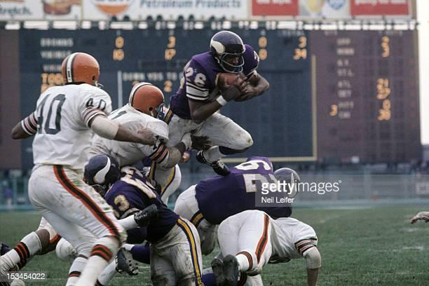 Minnesota Vikings Clint Jones in action returning kick vs Cleveland Browns at Metropolitan Stadium Bloomington MN CREDIT Neil Leifer