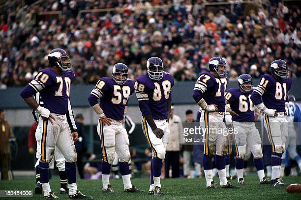 Minnesota Vikings defense Jim Marshall Lonnie Warwick Alan Page Gary Larsen Roy Winston and Carl Eller on field during game vs Detroit Lions at...
