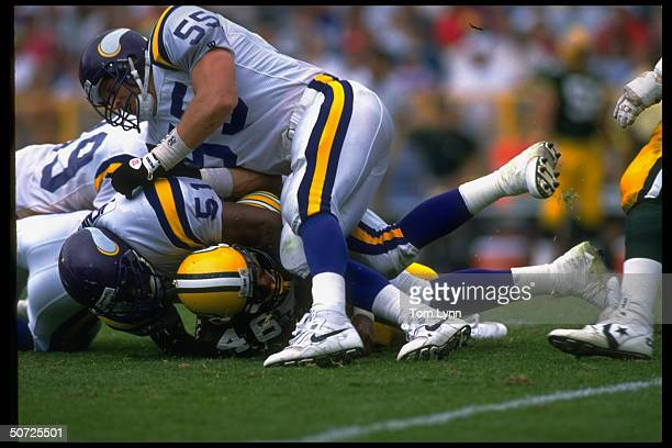 Minnesota Vikings Jack Del Rio Carlos Jenkins in action vs Green Bay Packers Vince Workman