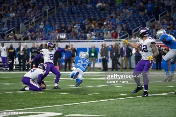 Minnesota Vikings Kai Forbath in action kicking vs Detroit Lions Darius Slay at Ford Field Detroit MI CREDIT David E Klutho