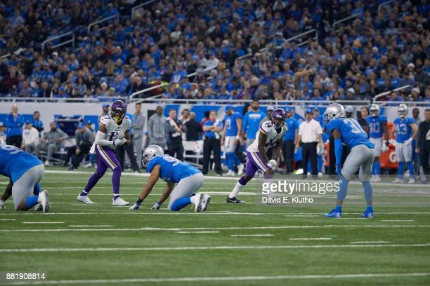 Minnesota Vikings Stefon Diggs and Jarius Wright at line of scrimmage during game vs Detroit Lions at Ford Field Detroit MI CREDIT David E Klutho