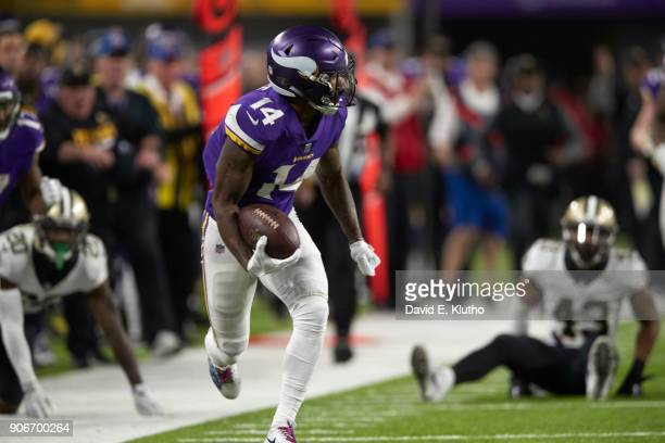 Minnesota Vikings Stefon Diggs in action making gamewinning touchdown run after making catch vs New Orleans Saints Sequence Minneapolis MN CREDIT...