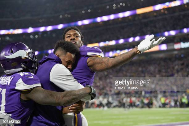 Minnesota Vikings Stefon Diggs victorious after scoring gamewinning touchdown vs New Orleans Saints at US Bank Stadium Minneapolis MN CREDIT David E...
