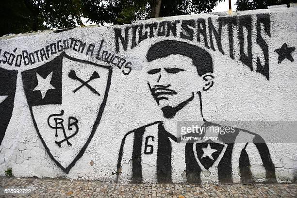 Football mural painting celebrating Botafogo de Futebol e Regatas on Rua General Severiano in Rio de Janeiro, Brazil outside their club house and...