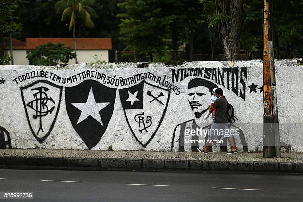 A football mural painting celebrating Botafogo de Futebol e Regatas on Rua General Severiano in Rio de Janeiro Brazil outside their club house and...